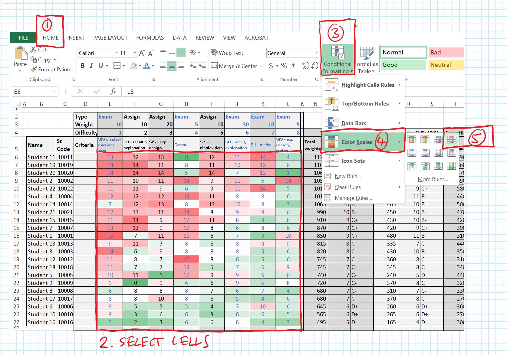 Storing and making sense of grades – Excel to the rescue